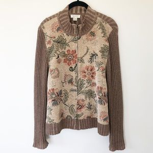 Christopher & Banks Brown Floral Zip Up Sweater